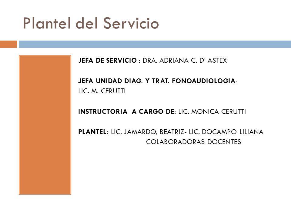 Plantel del Servicio JEFA DE SERVICIO : DRA.ADRIANA C.