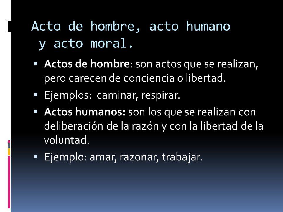 Acto de hombre, acto humano y acto moral. Actos de hombre: son actos que se realizan, pero carecen de conciencia o libertad. Ejemplos: caminar, respir