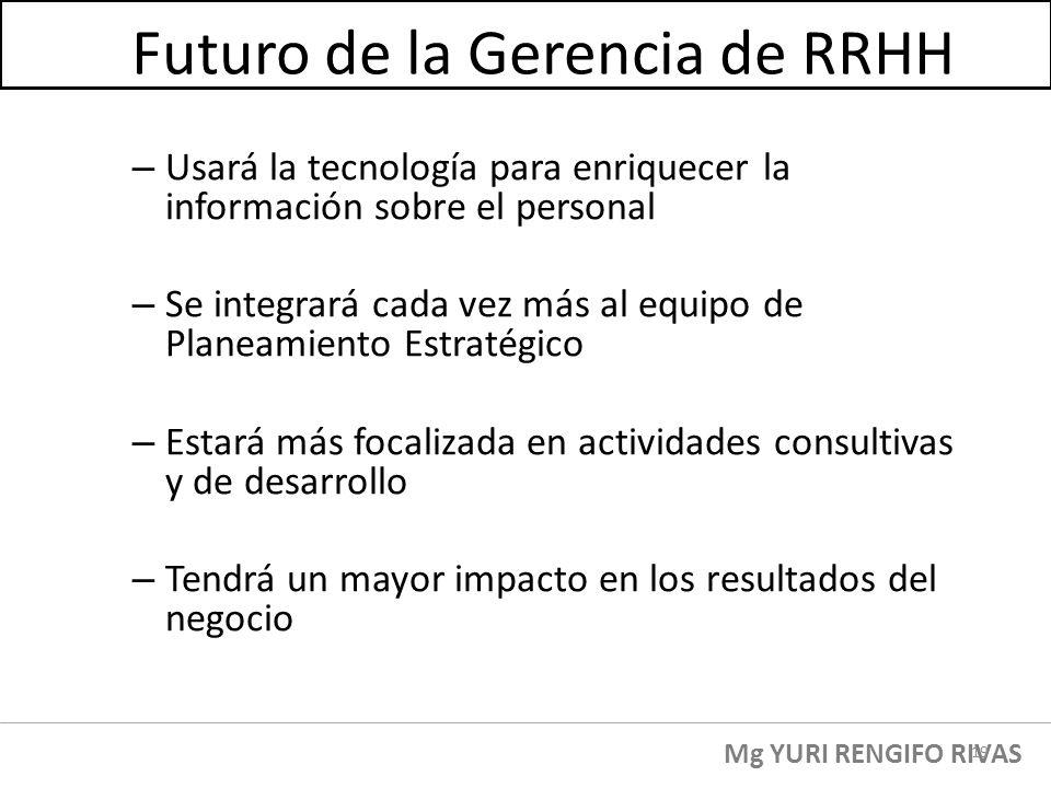 Futuro de la Gerencia de RRHH – Usará la tecnología para enriquecer la información sobre el personal – Se integrará cada vez más al equipo de Planeami