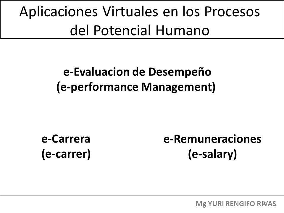 e-Evaluacion de Desempeño ( e-performance Management) Aplicaciones Virtuales en los Procesos del Potencial Humano e-Remuneraciones (e-salary) e-Carrer