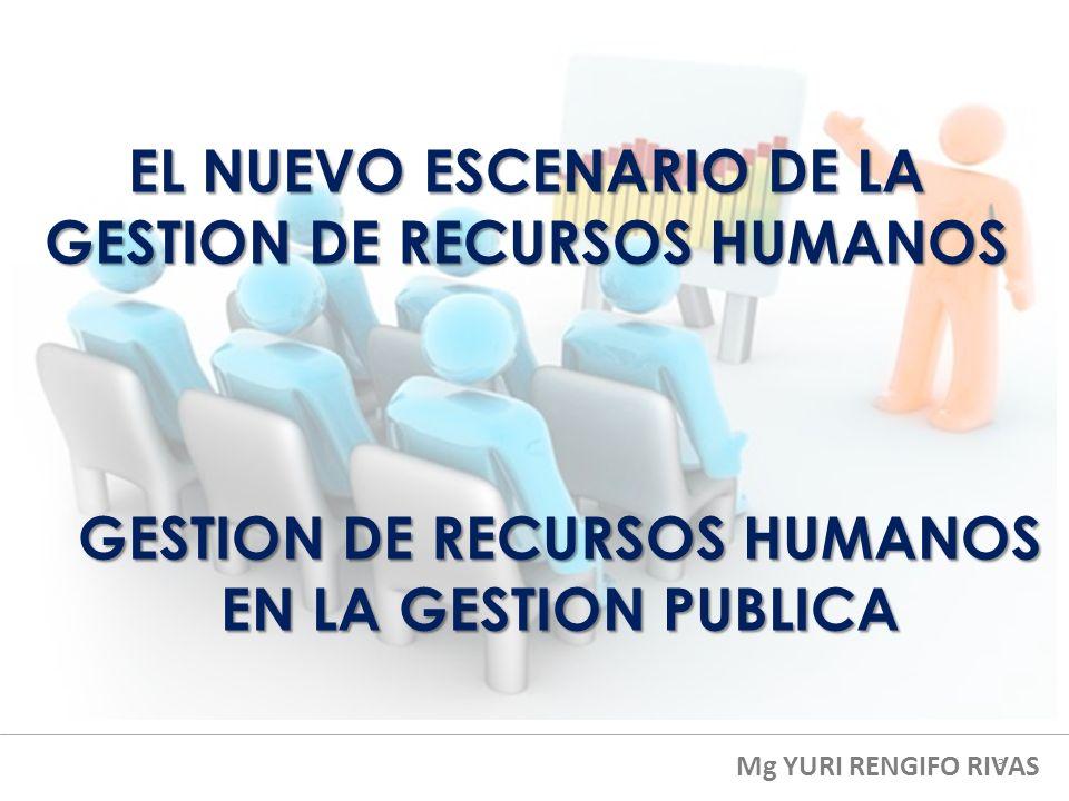 EL NUEVO ESCENARIO DE LA GESTION DE RECURSOS HUMANOS Mg YURI RENGIFO RIVAS GESTION DE RECURSOS HUMANOS EN LA GESTION PUBLICA 3