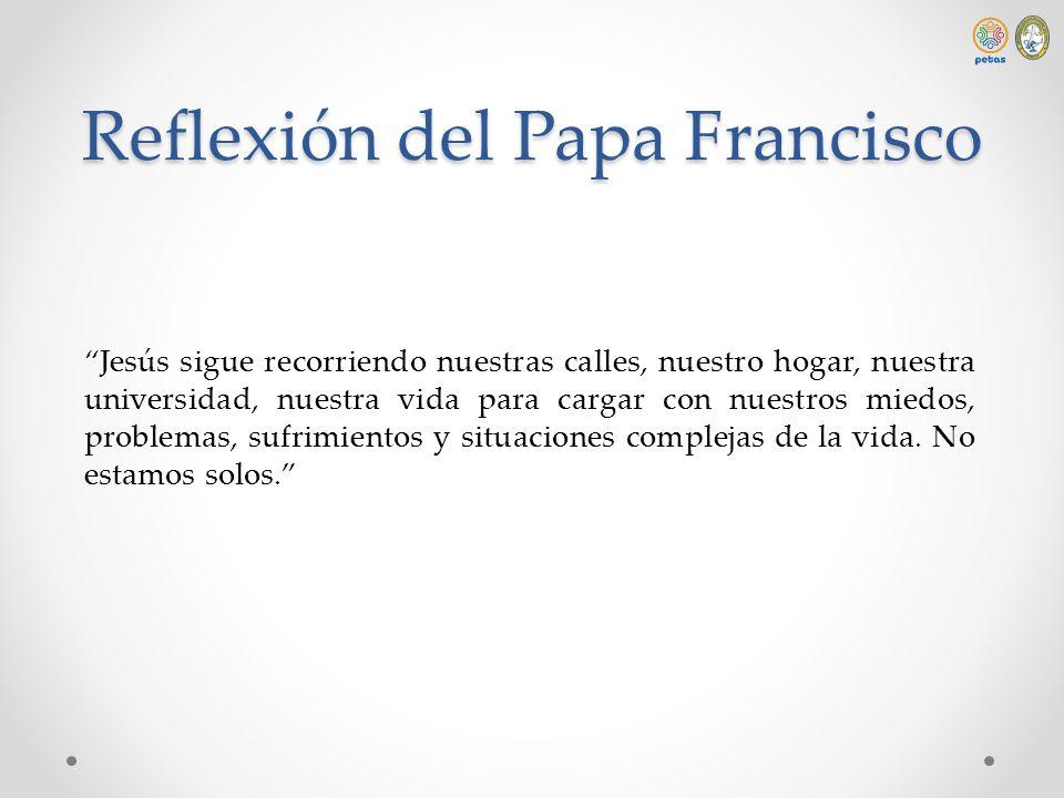 Reflexión del Papa Francisco Jesús sigue recorriendo nuestras calles, nuestro hogar, nuestra universidad, nuestra vida para cargar con nuestros miedos