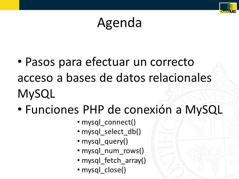 Agenda Pasos para efectuar un correcto acceso a bases de datos relacionales MySQL Funciones PHP de conexión a MySQL mysql_connect() mysql_select_db()