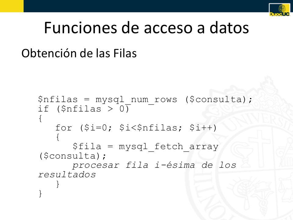 Funciones de acceso a datos Obtención de las Filas Obtener los resultados: mysql_num_rows(), mysql_fetch_array() – Para acceder a un campo determinado de una fila se usa la siguiente sintaxis: $fila[nombre_campo]// por ser un array asociativo $fila[$i]// $i=índice del campo desde 0 Ejemplo: for ($i=0; $i<$nfilas; $i++) { $fila = mysql_fetch_array ($consulta); print Título:.