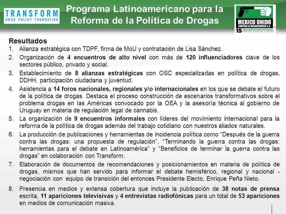 Resultados 1.Alianza estratégica con TDPF, firma de MoU y contratación de Lisa Sánchez.