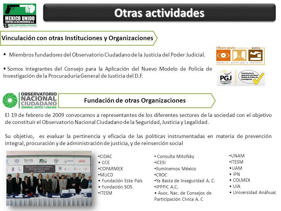 Otras actividades Miembros fundadores del Observatorio Ciudadano de la Justicia del Poder Judicial.