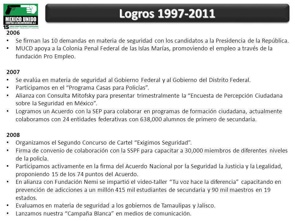 Logros 1997-2011 2006 Se firman las 10 demandas en materia de seguridad con los candidatos a la Presidencia de la República.
