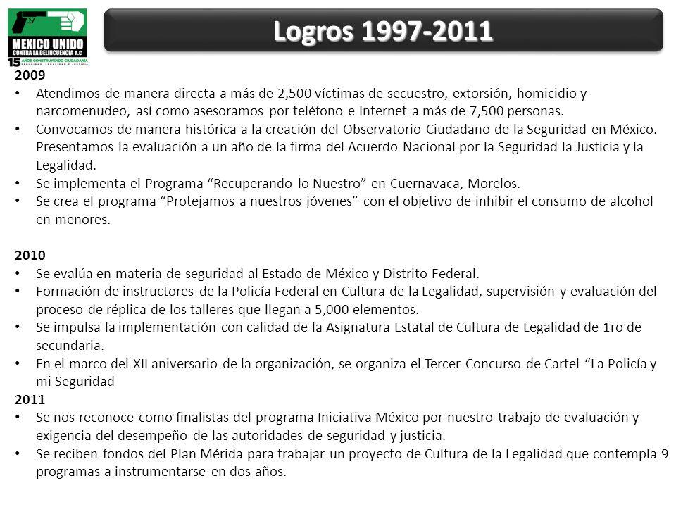 Logros 1997-2011 2009 Atendimos de manera directa a más de 2,500 víctimas de secuestro, extorsión, homicidio y narcomenudeo, así como asesoramos por teléfono e Internet a más de 7,500 personas.