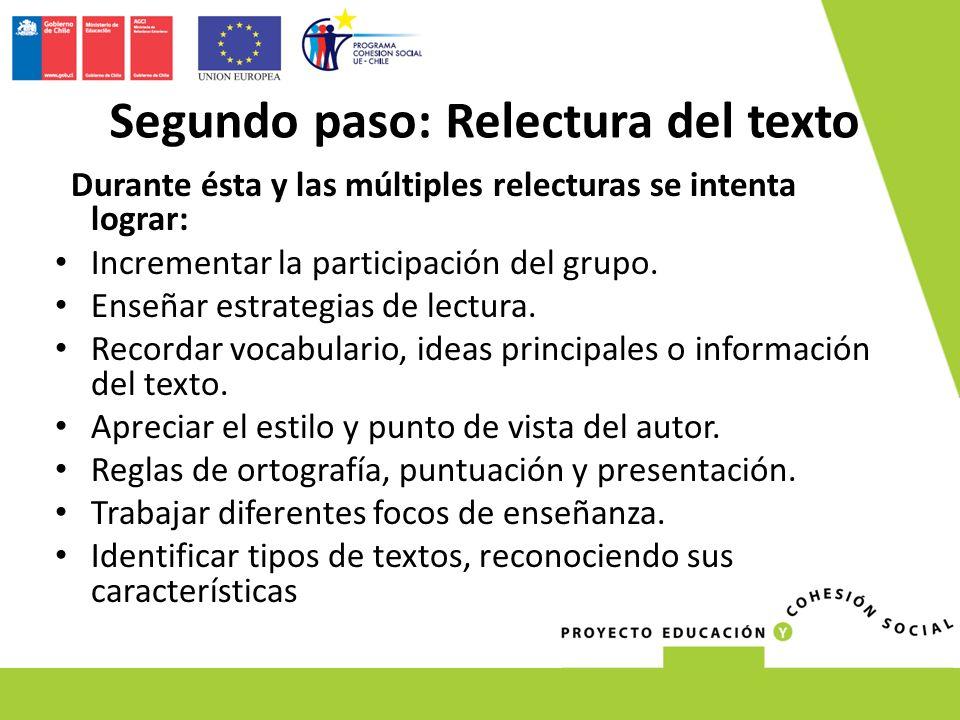 Durante ésta y las múltiples relecturas se intenta lograr: Incrementar la participación del grupo. Enseñar estrategias de lectura. Recordar vocabulari