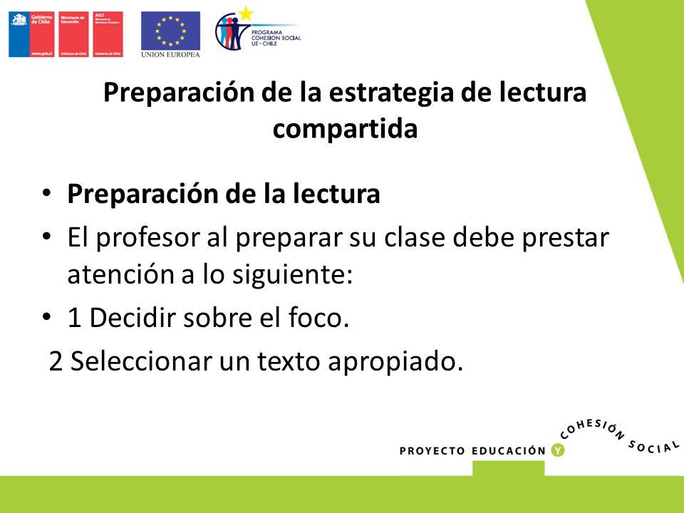 Preparación de la lectura El profesor al preparar su clase debe prestar atención a lo siguiente: 1 Decidir sobre el foco. 2 Seleccionar un texto aprop