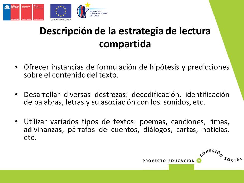 Ofrecer instancias de formulación de hipótesis y predicciones sobre el contenido del texto.