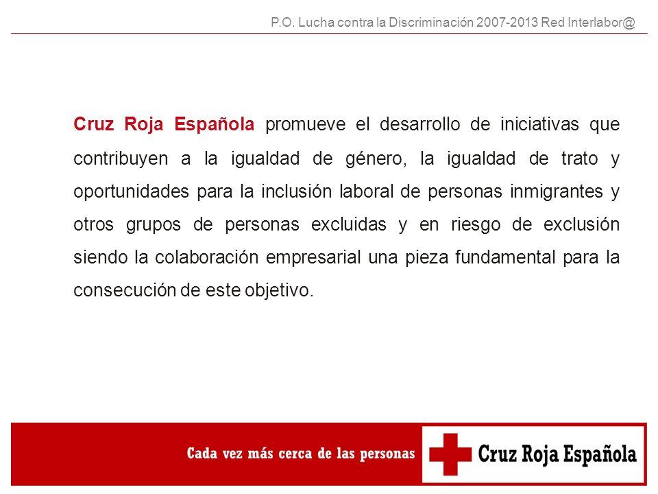 Cruz Roja Española promueve el desarrollo de iniciativas que contribuyen a la igualdad de género, la igualdad de trato y oportunidades para la inclusión laboral de personas inmigrantes y otros grupos de personas excluidas y en riesgo de exclusión siendo la colaboración empresarial una pieza fundamental para la consecución de este objetivo.