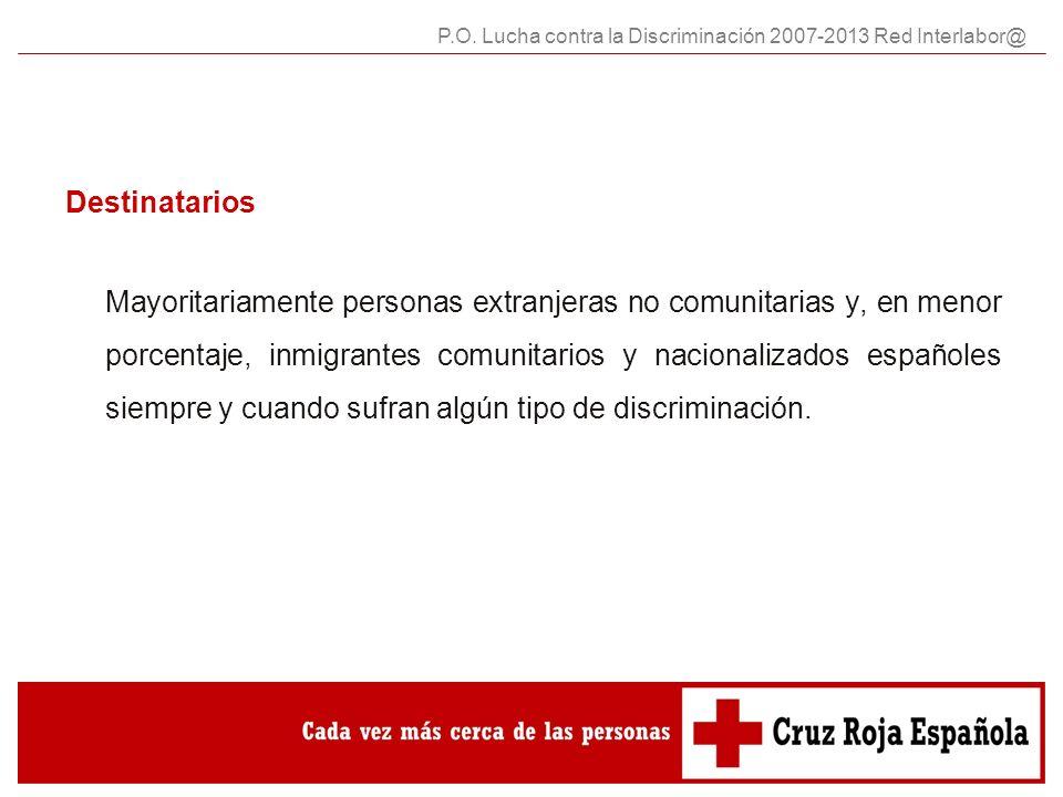 Destinatarios Mayoritariamente personas extranjeras no comunitarias y, en menor porcentaje, inmigrantes comunitarios y nacionalizados españoles siempre y cuando sufran algún tipo de discriminación.