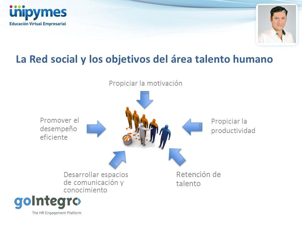 La Red social y los objetivos del área talento humano Propiciar la motivación Promover el desempeño eficiente Propiciar la productividad Desarrollar e