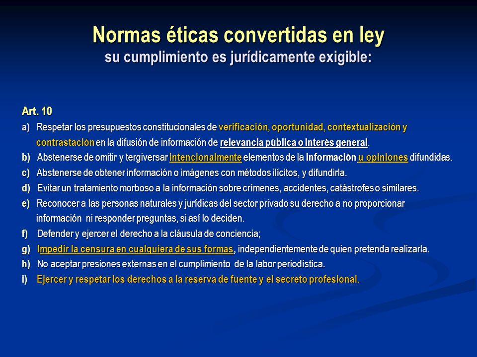 Normas éticas convertidas en ley su cumplimiento es jurídicamente exigible: Art. 10 a) Respetar los presupuestos constitucionales de verificación, opo