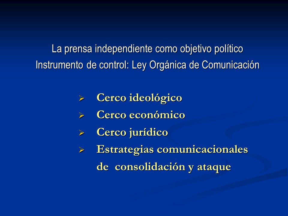 La prensa independiente como objetivo político Instrumento de control: Ley Orgánica de Comunicación Cerco ideológico Cerco ideológico Cerco económico