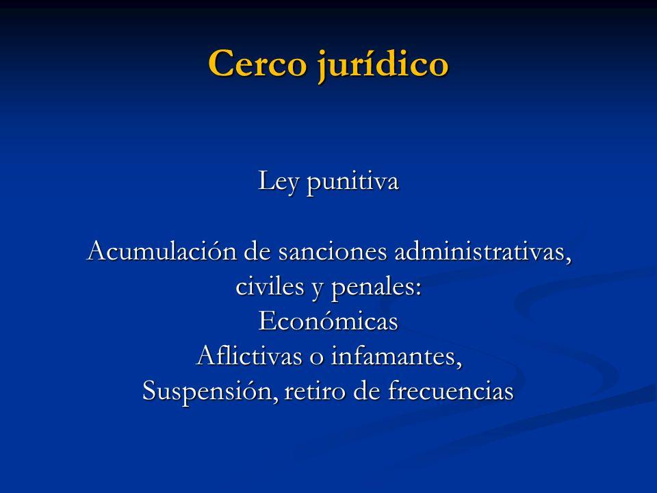 Cerco jurídico Ley punitiva Acumulación de sanciones administrativas, civiles y penales: Económicas Aflictivas o infamantes, Suspensión, retiro de fre