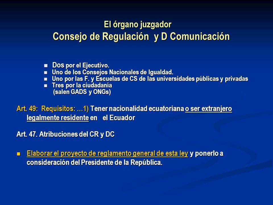 El órgano juzgador Consejo de Regulación y D Comunicación Dos por el Ejecutivo. Dos por el Ejecutivo. Uno de los Consejos Nacionales de Igualdad. Uno
