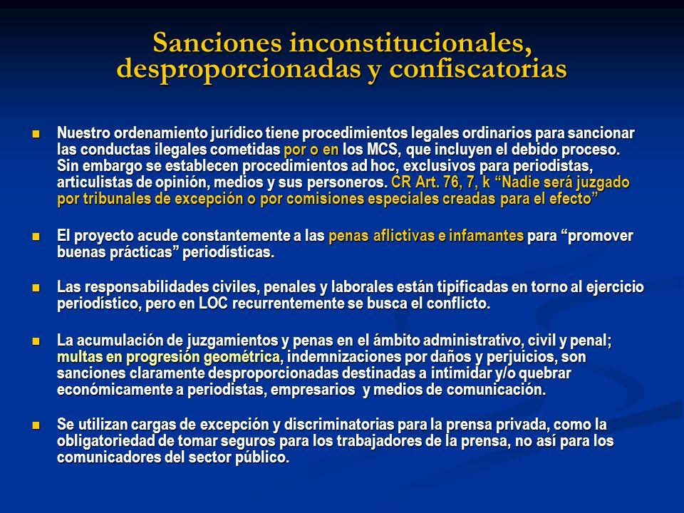 Sanciones inconstitucionales, desproporcionadas y confiscatorias Nuestro ordenamiento jurídico tiene procedimientos legales ordinarios para sancionar