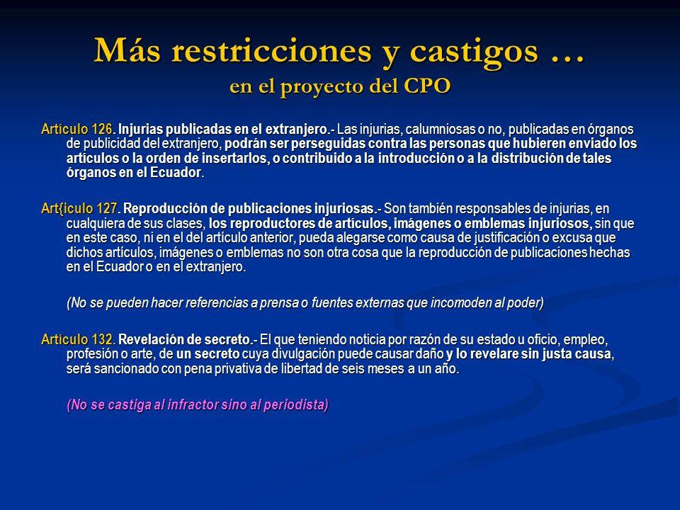 Más restricciones y castigos … en el proyecto del CPO Artículo 126. Injurias publicadas en el extranjero.- Las injurias, calumniosas o no, publicadas