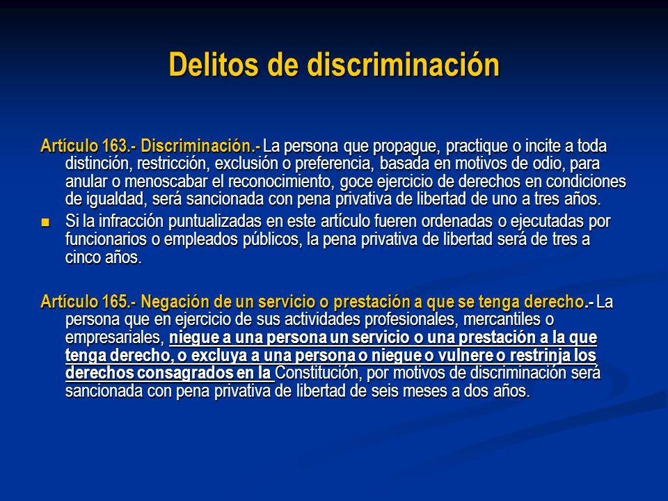 Delitos de discriminación Artículo 163.- Discriminación.- La persona que propague, practique o incite a toda distinción, restricción, exclusión o pref