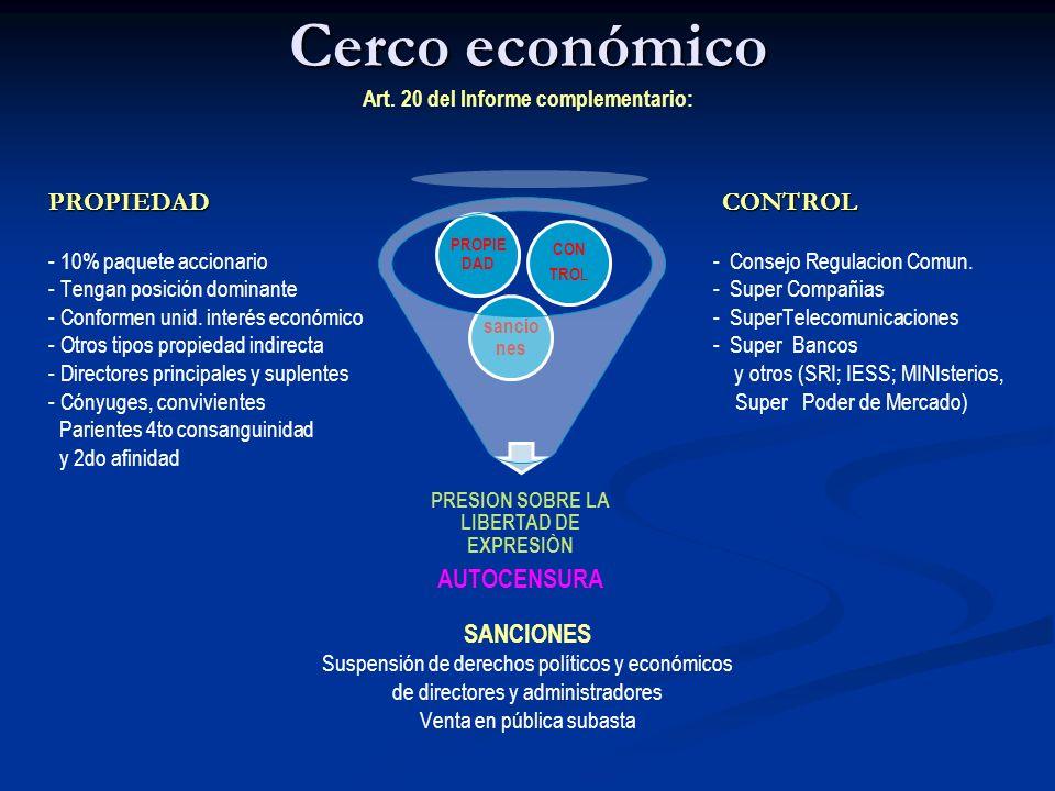 Cerco económico Cerco económico Art. 20 del Informe complementario: PROPIEDAD CONTROL - 10% paquete accionario - Consejo Regulacion Comun. - Tengan po