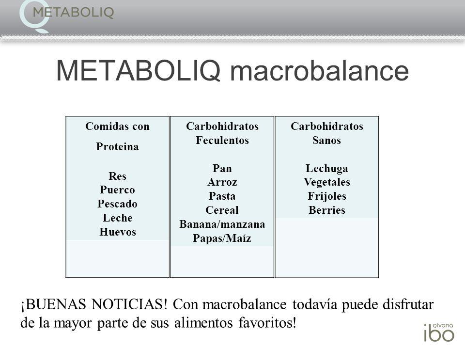 METABOLIQ macrobalance ¡BUENAS NOTICIAS! Con macrobalance todavía puede disfrutar de la mayor parte de sus alimentos favoritos! Comidas con Proteina R