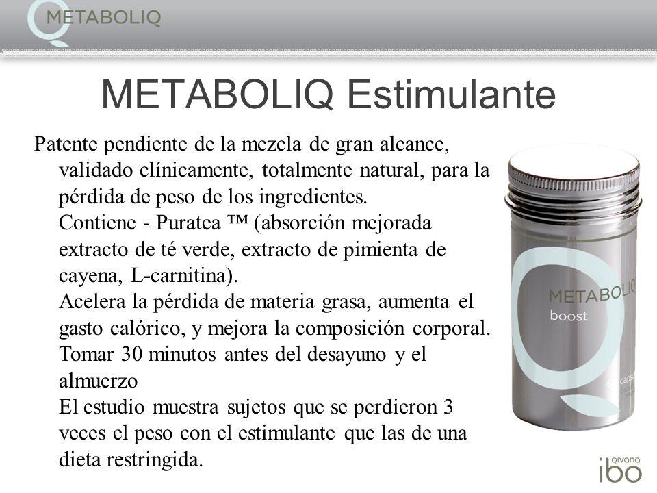 METABOLIQ Estimulante Patente pendiente de la mezcla de gran alcance, validado clínicamente, totalmente natural, para la pérdida de peso de los ingred
