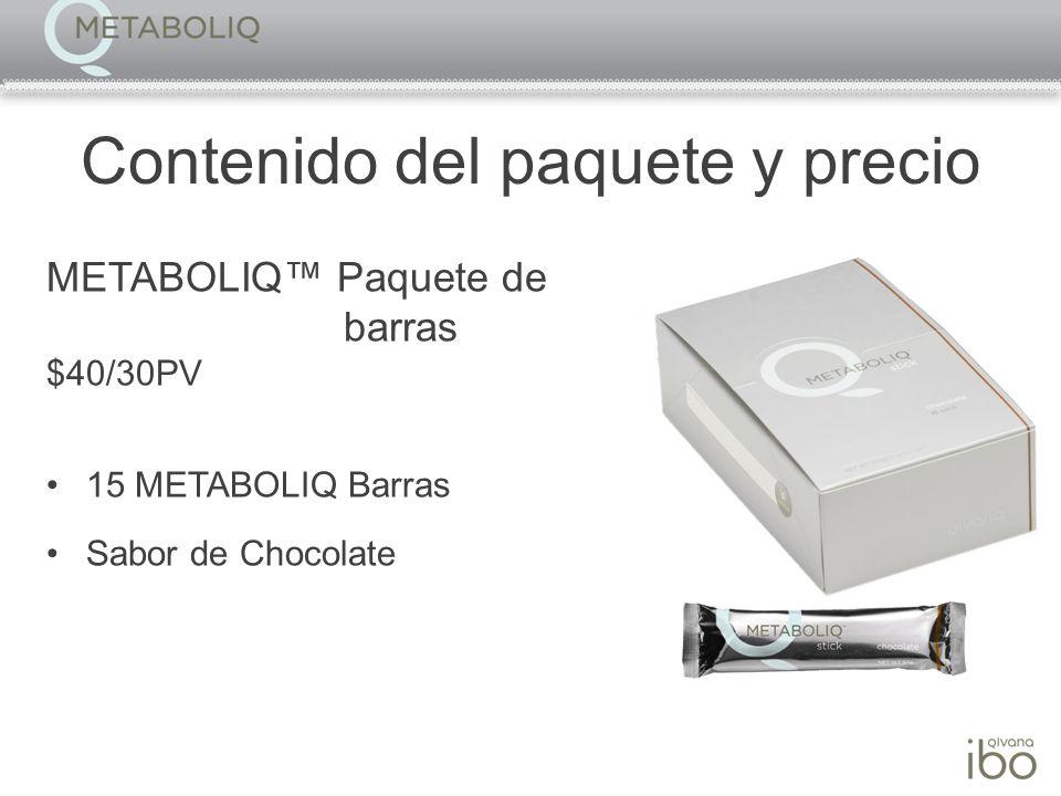 Contenido del paquete y precio METABOLIQ Paquete de barras $40/30PV 15 METABOLIQ Barras Sabor de Chocolate