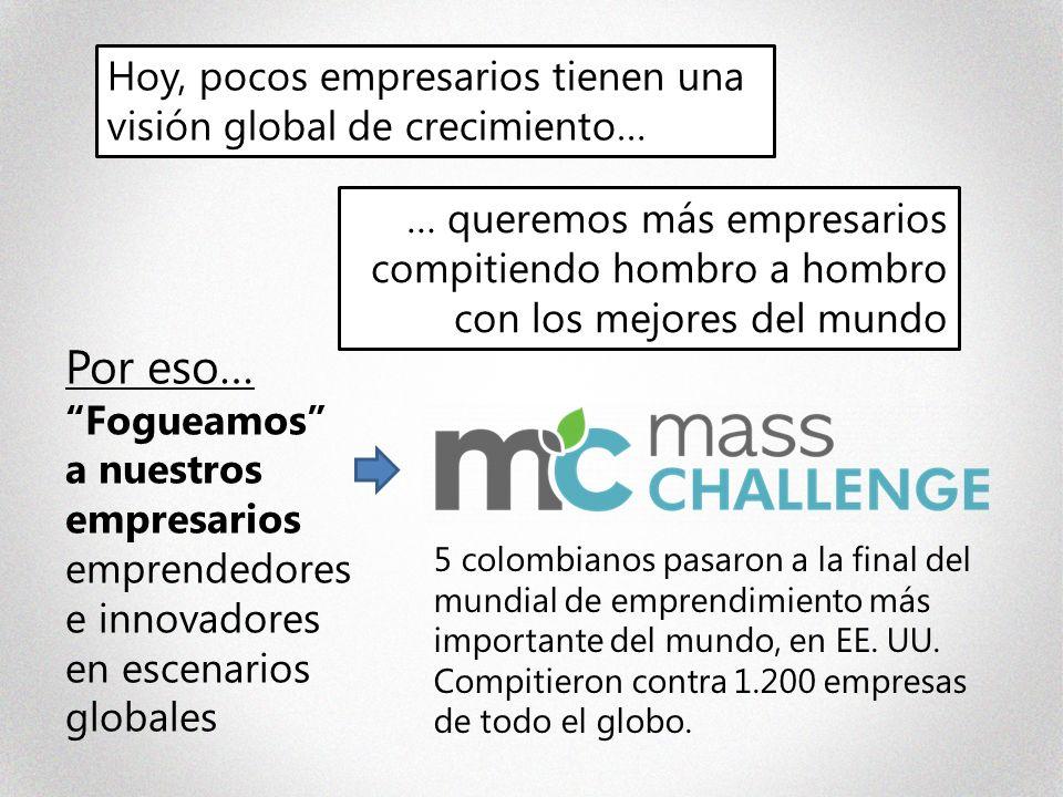 Por eso… Fogueamos a nuestros empresarios emprendedores e innovadores en escenarios globales … queremos más empresarios compitiendo hombro a hombro con los mejores del mundo Hoy, pocos empresarios tienen una visión global de crecimiento… 5 colombianos pasaron a la final del mundial de emprendimiento más importante del mundo, en EE.