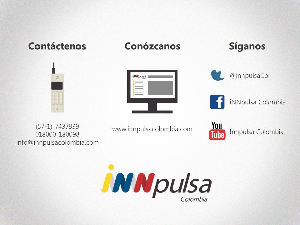 @innpulsaCol iNNpulsa Colombia Innpulsa Colombia Síganos (57-1) 7437939 018000 180098 info@innpulsacolombia.com Contáctenos www.innpulsacolombia.com Conózcanos