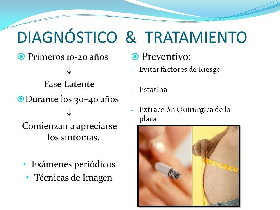 DIAGNÓSTICO & TRATAMIENTO Primeros 10-20 años Fase Latente Durante los 30–40 años Comienzan a apreciarse los síntomas.