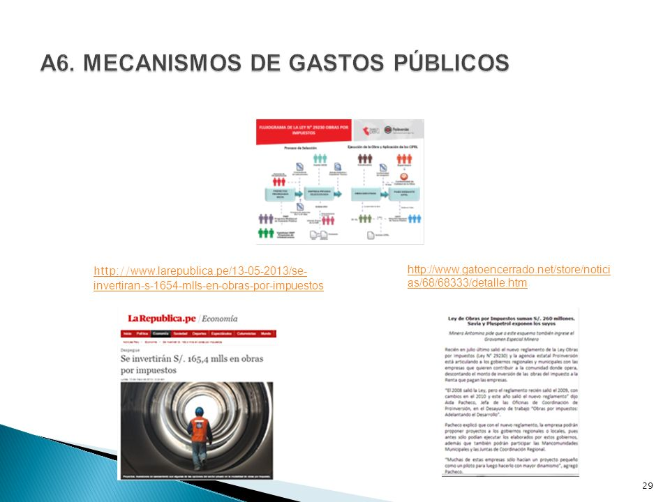 29 http:// www.larepublica.pe/13-05-2013/se- invertiran-s-1654-mlls-en-obras-por-impuestos http://www.gatoencerrado.net/store/notici as/68/68333/detal