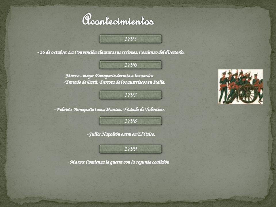 1795 - 26 de octubre: La Convención clausura sus sesiones. Comienzo del directorio. 1796 - Marzo - mayo: Bonaparte derrota a los sardos. -Tratado de P
