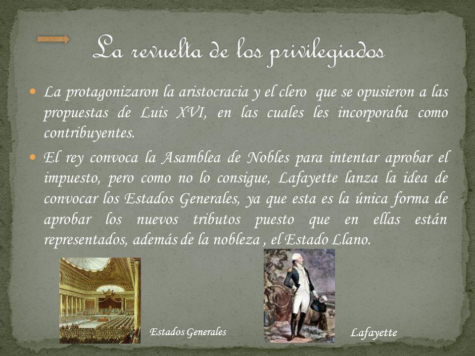 La protagonizaron la aristocracia y el clero que se opusieron a las propuestas de Luis XVI, en las cuales les incorporaba como contribuyentes. El rey