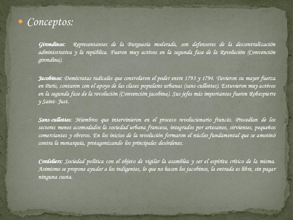 Conceptos: Girondinos: Representantes de la Burguesía moderada, son defensores de la descentralización administrativa y la república. Fueron muy activ