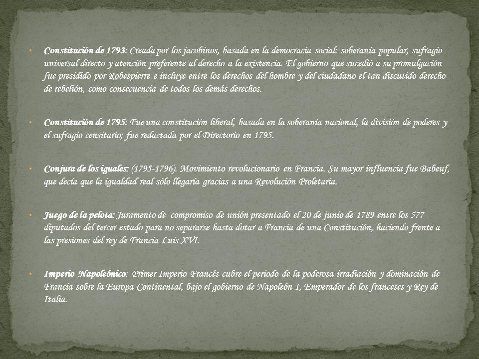 Constitución de 1793: Creada por los jacobinos, basada en la democracia social: soberanía popular, sufragio universal directo y atención preferente al