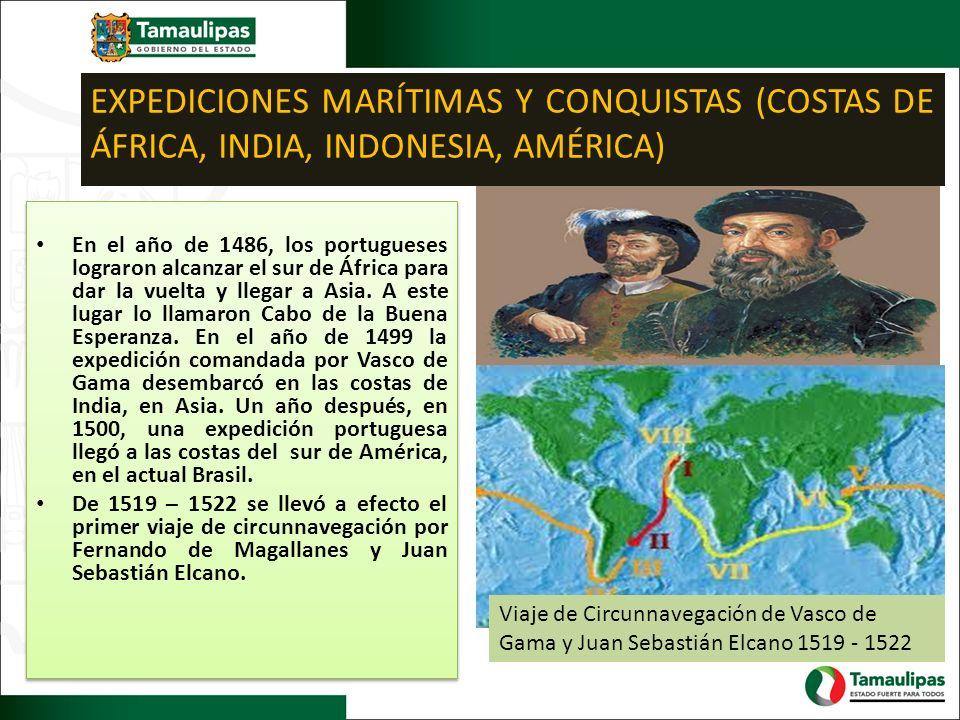 EXPEDICIONES MARÍTIMAS Y CONQUISTAS (COSTAS DE ÁFRICA, INDIA, INDONESIA, AMÉRICA) Viaje de Circunnavegación de Vasco de Gama y Juan Sebastián Elcano 1