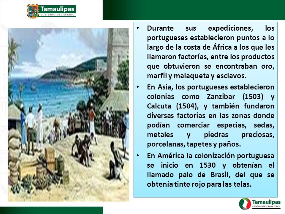 Durante sus expediciones, los portugueses establecieron puntos a lo largo de la costa de África a los que les llamaron factorías, entre los productos