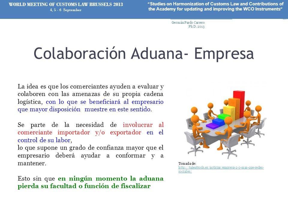 Colaboración Aduana- Empresa La idea es que los comerciantes ayuden a evaluar y colaboren con las amenazas de su propia cadena logística, con lo que s