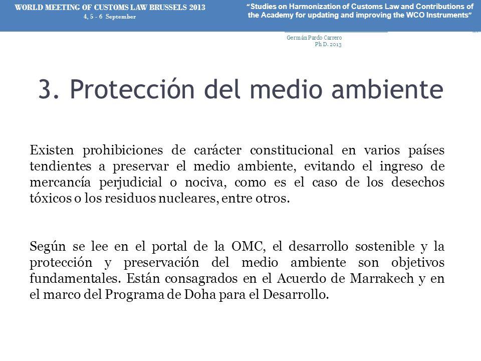 3. Protección del medio ambiente Existen prohibiciones de carácter constitucional en varios países tendientes a preservar el medio ambiente, evitando