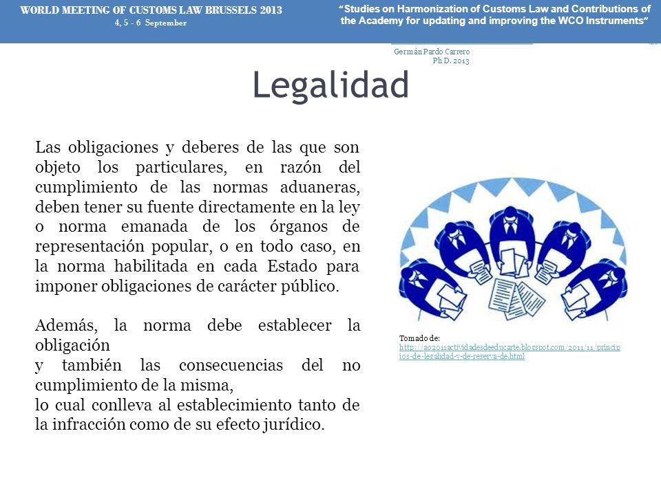 Legalidad Las obligaciones y deberes de las que son objeto los particulares, en razón del cumplimiento de las normas aduaneras, deben tener su fuente