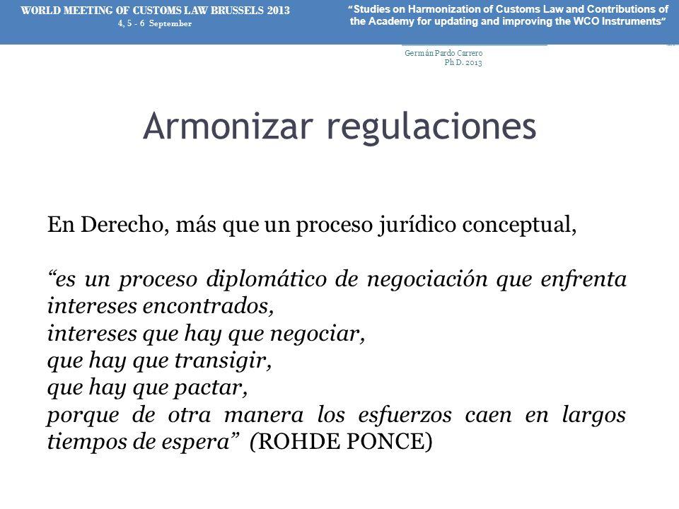 Armonizar regulaciones En Derecho, más que un proceso jurídico conceptual, es un proceso diplomático de negociación que enfrenta intereses encontrados