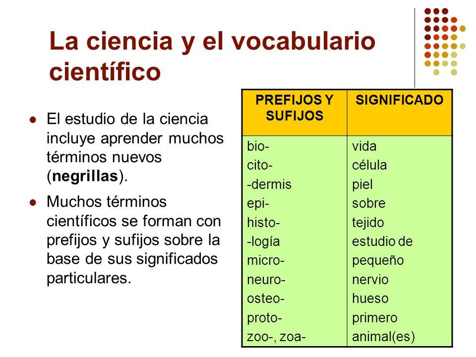 La ciencia y el vocabulario científico El estudio de la ciencia incluye aprender muchos términos nuevos (negrillas). Muchos términos científicos se fo