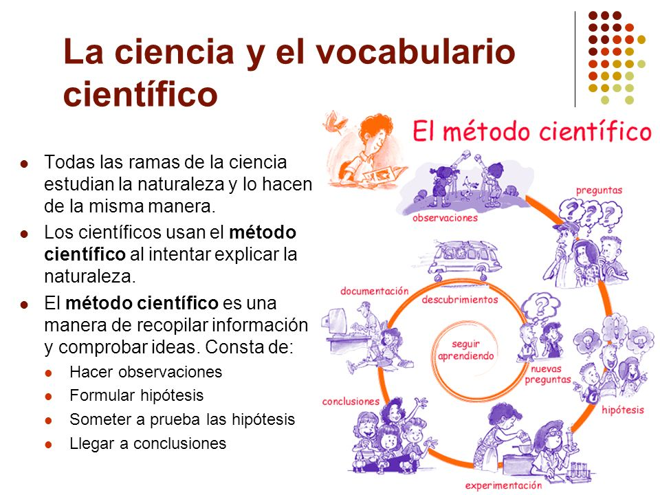 La ciencia y el vocabulario científico Todas las ramas de la ciencia estudian la naturaleza y lo hacen de la misma manera. Los científicos usan el mét
