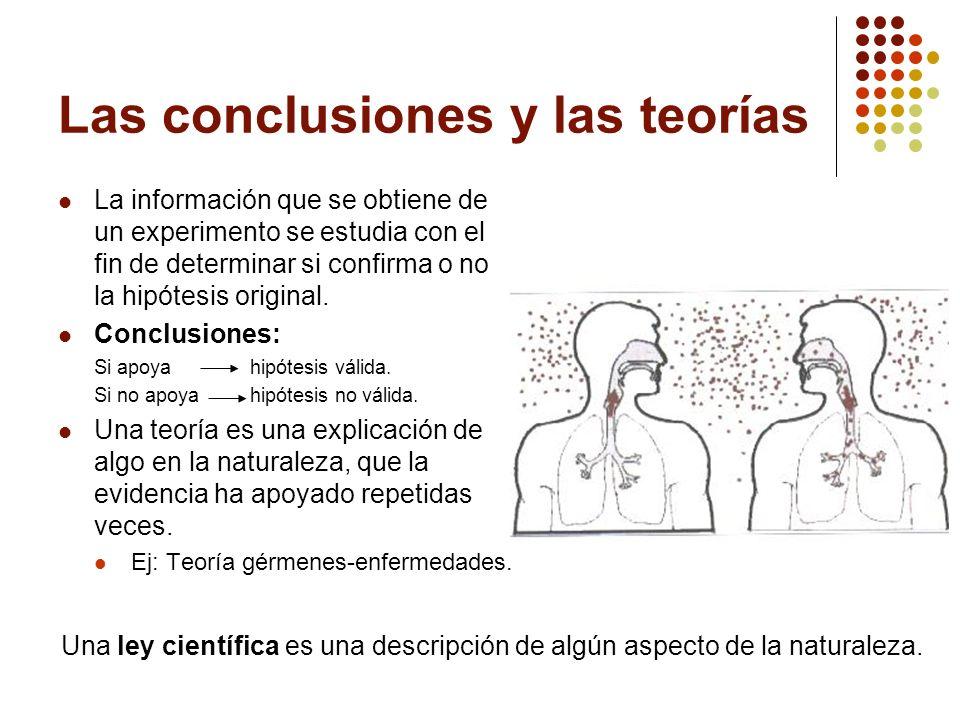 Las conclusiones y las teorías La información que se obtiene de un experimento se estudia con el fin de determinar si confirma o no la hipótesis origi