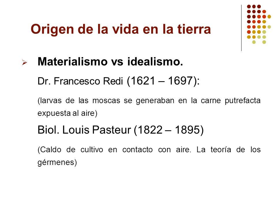 Origen de la vida en la tierra Materialismo vs idealismo. Dr. Francesco Redi (1621 – 1697): (larvas de las moscas se generaban en la carne putrefacta