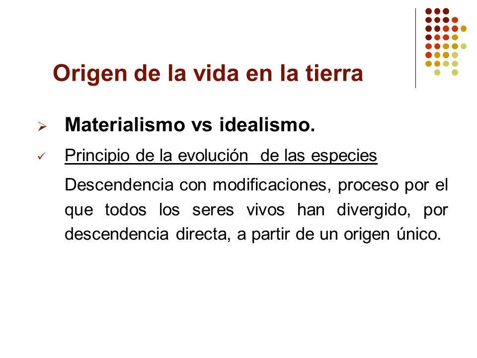 Origen de la vida en la tierra Materialismo vs idealismo. Principio de la evolución de las especies Descendencia con modificaciones, proceso por el qu