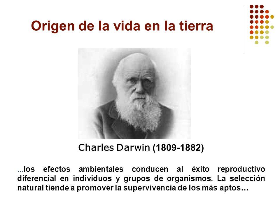 Charles Darwin (1809-1882) … los efectos ambientales conducen al éxito reproductivo diferencial en individuos y grupos de organismos. La selección nat