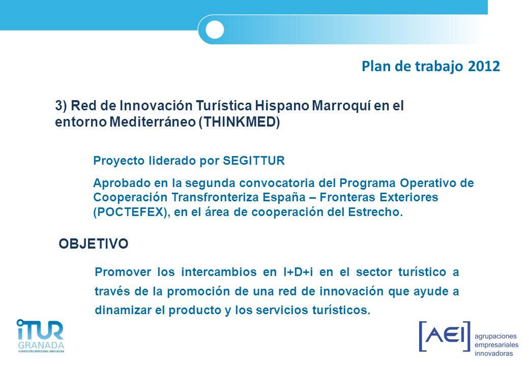 Plan de trabajo 2012 3) Red de Innovación Turística Hispano Marroquí en el entorno Mediterráneo (THINKMED) Proyecto liderado por SEGITTUR Aprobado en